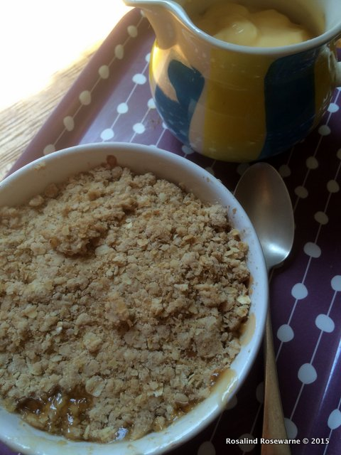 Gooseberry crumble with thick yellow custard. Perfect.
