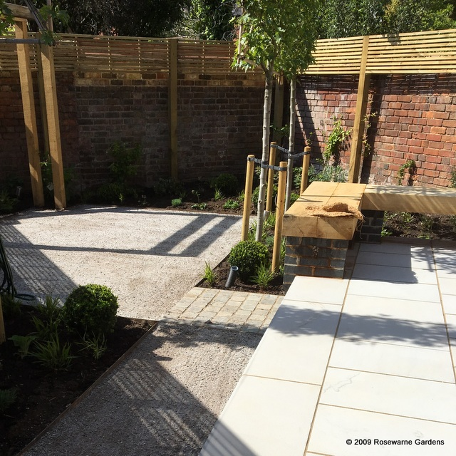 town garden paving pleached trees gravel terrace